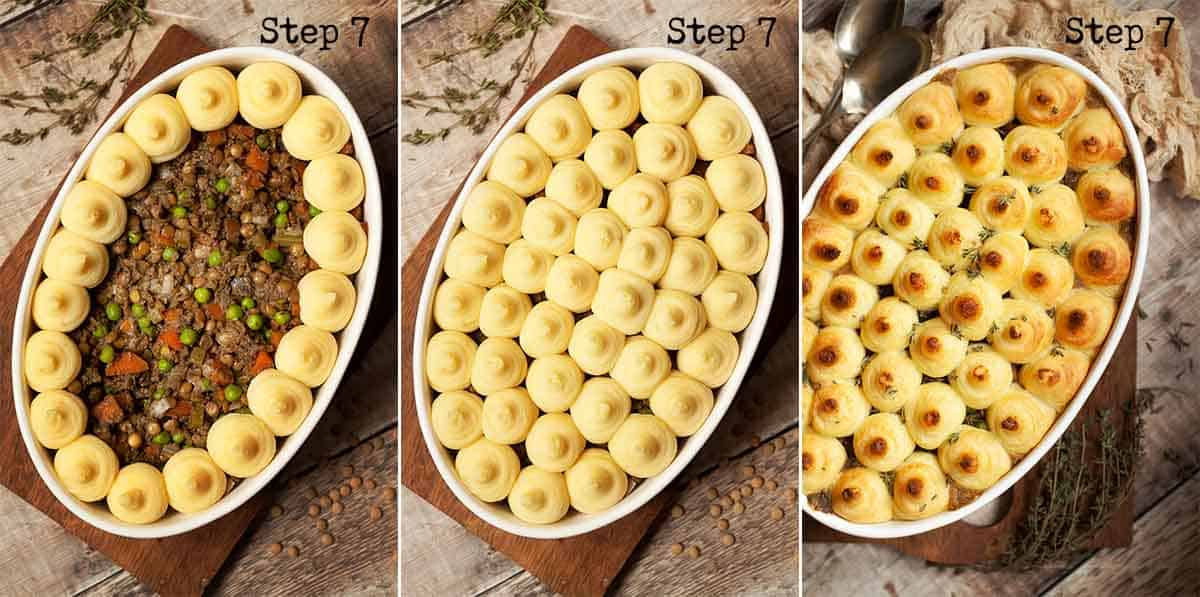 Collage of images showing mashed potato being piped onto a dish and baked