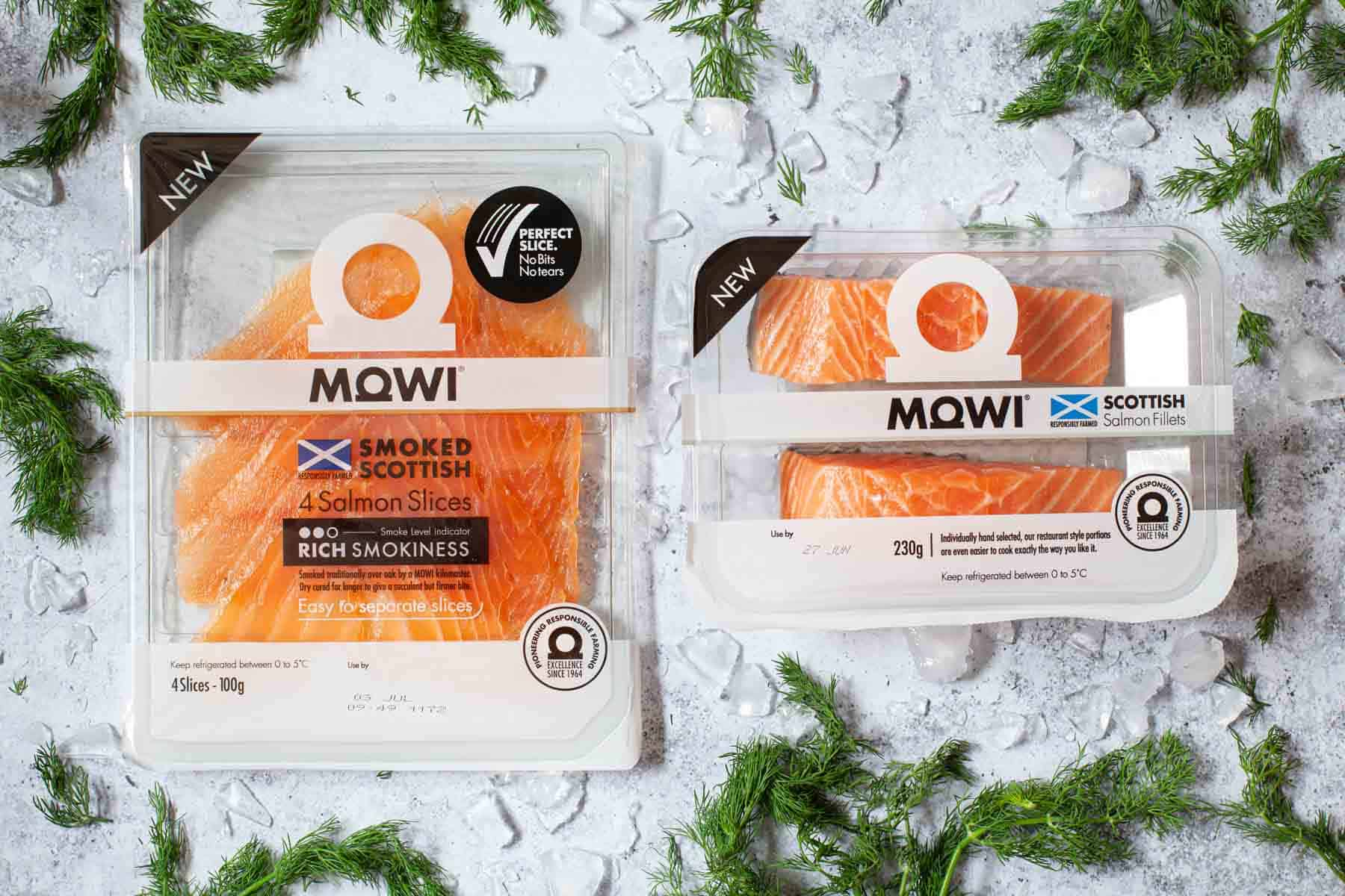Raw salmon fillets and smoked salmon in packaging