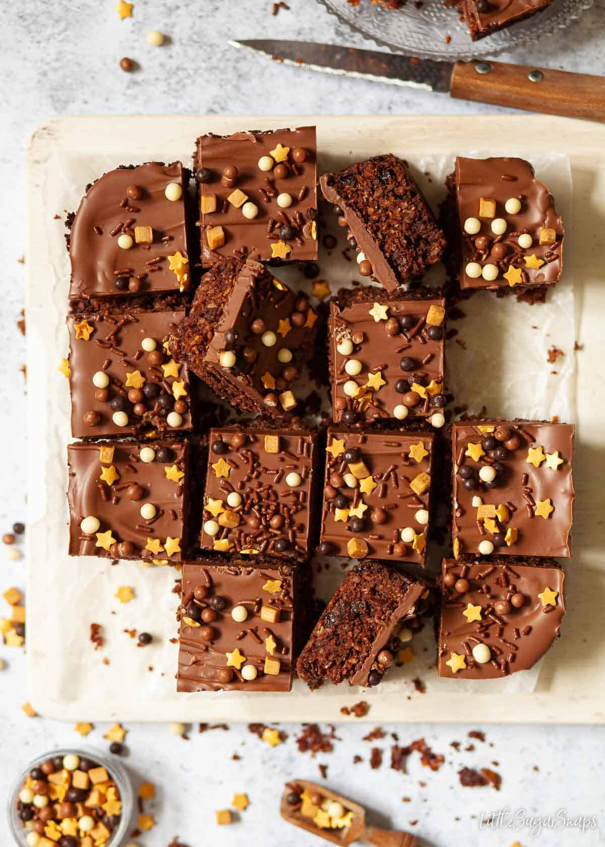 Aussie crunch squares tpped with chocolate and sprinkles