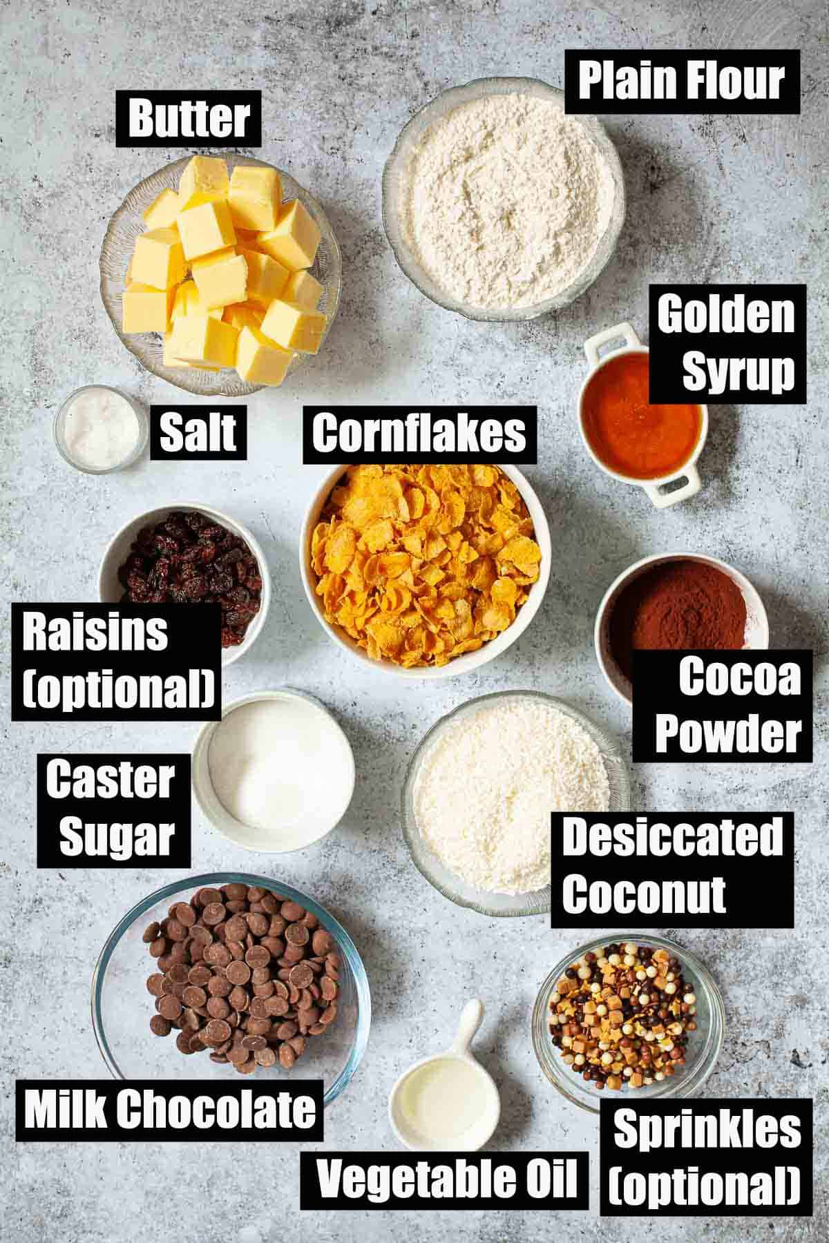 Ingredients for Australian Crunchie with text overlay