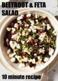 A bowl of chopped beetroot, feta cheese and mint salad with text overlay