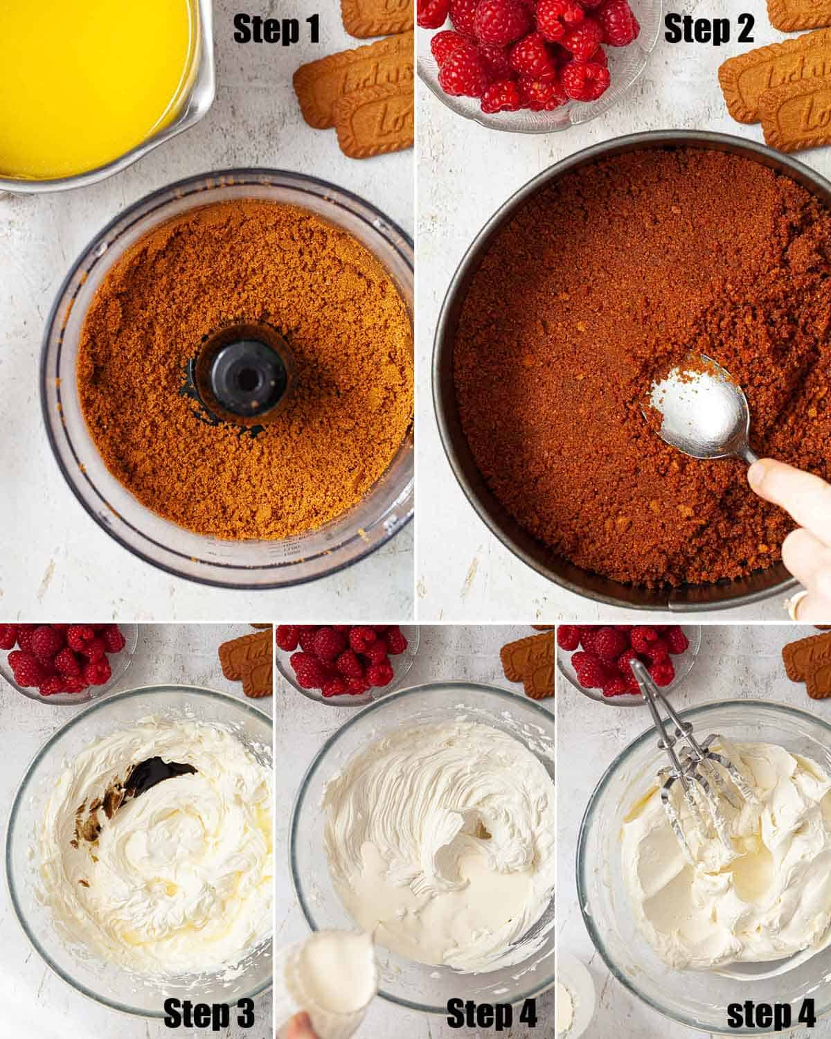Collage of images showing a no bake speculoos cheesecake being made