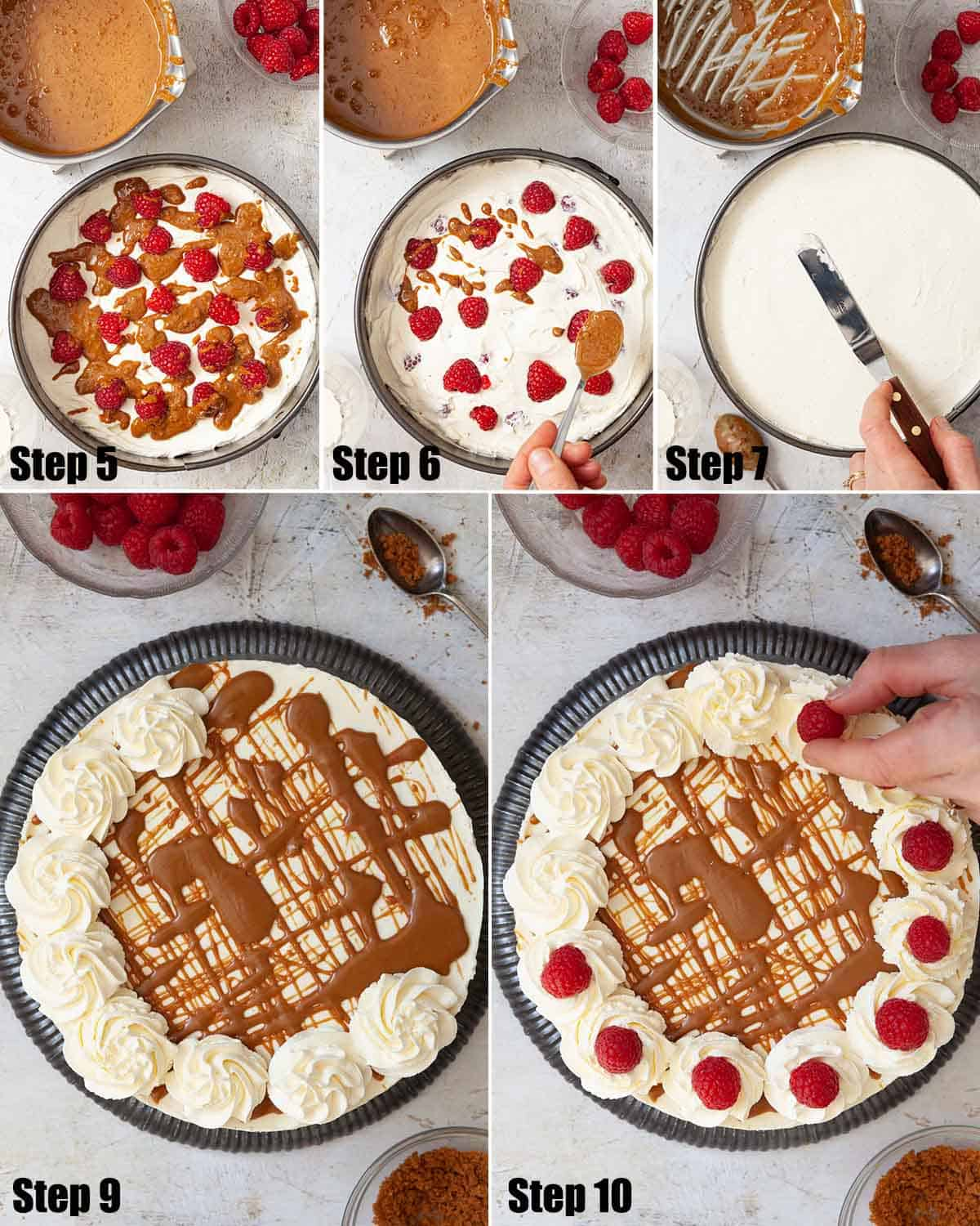 Collage of images showing a no-bake dessert being assembled and decorated