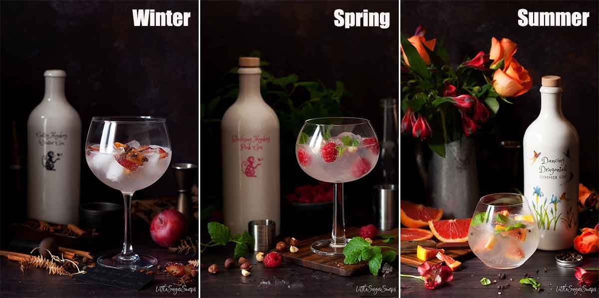 Collage of images showing three different Gin and Tonic drinks with bottles of gin