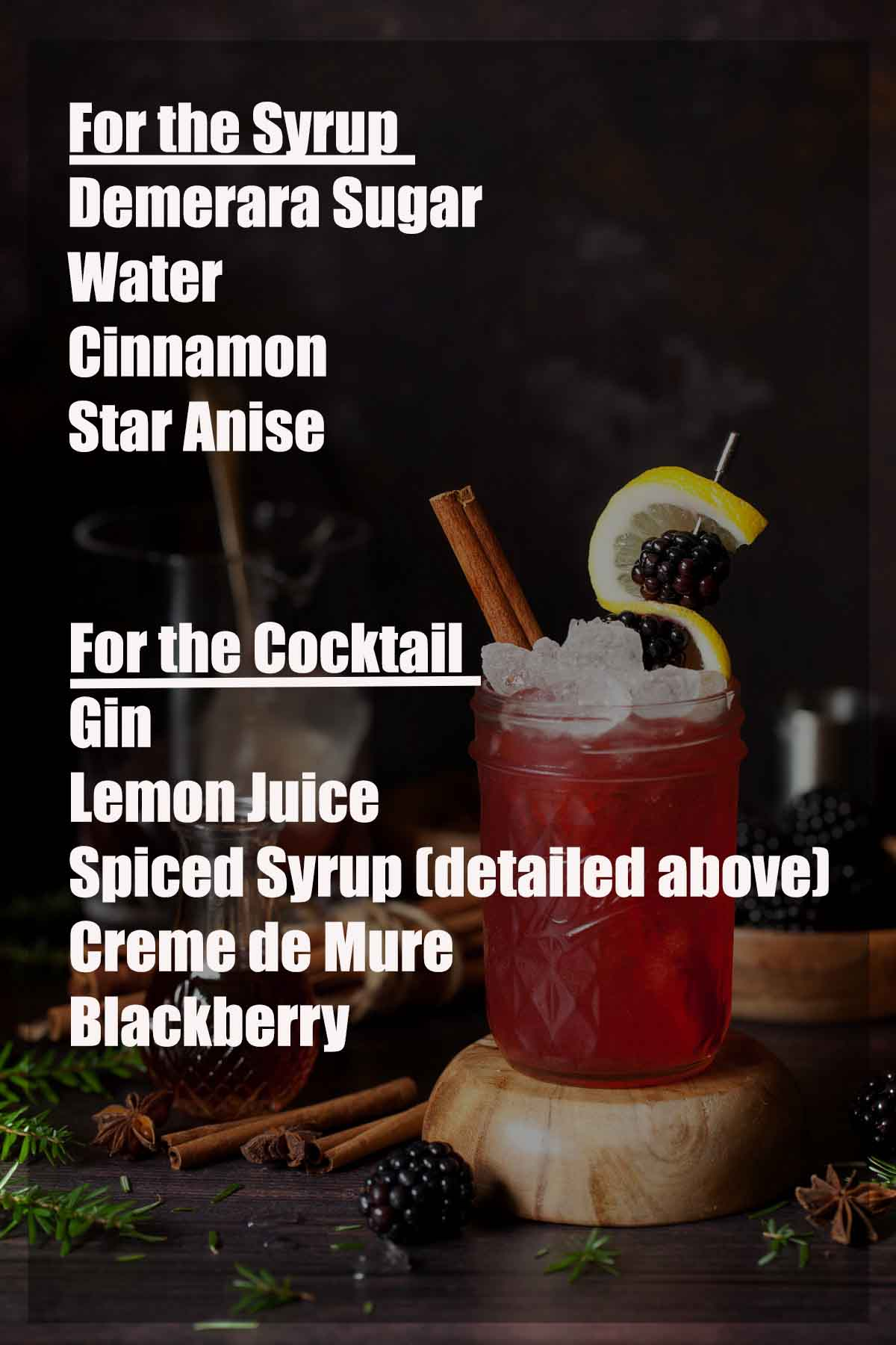 Ingredients for a winter bramble cocktail with text overlay