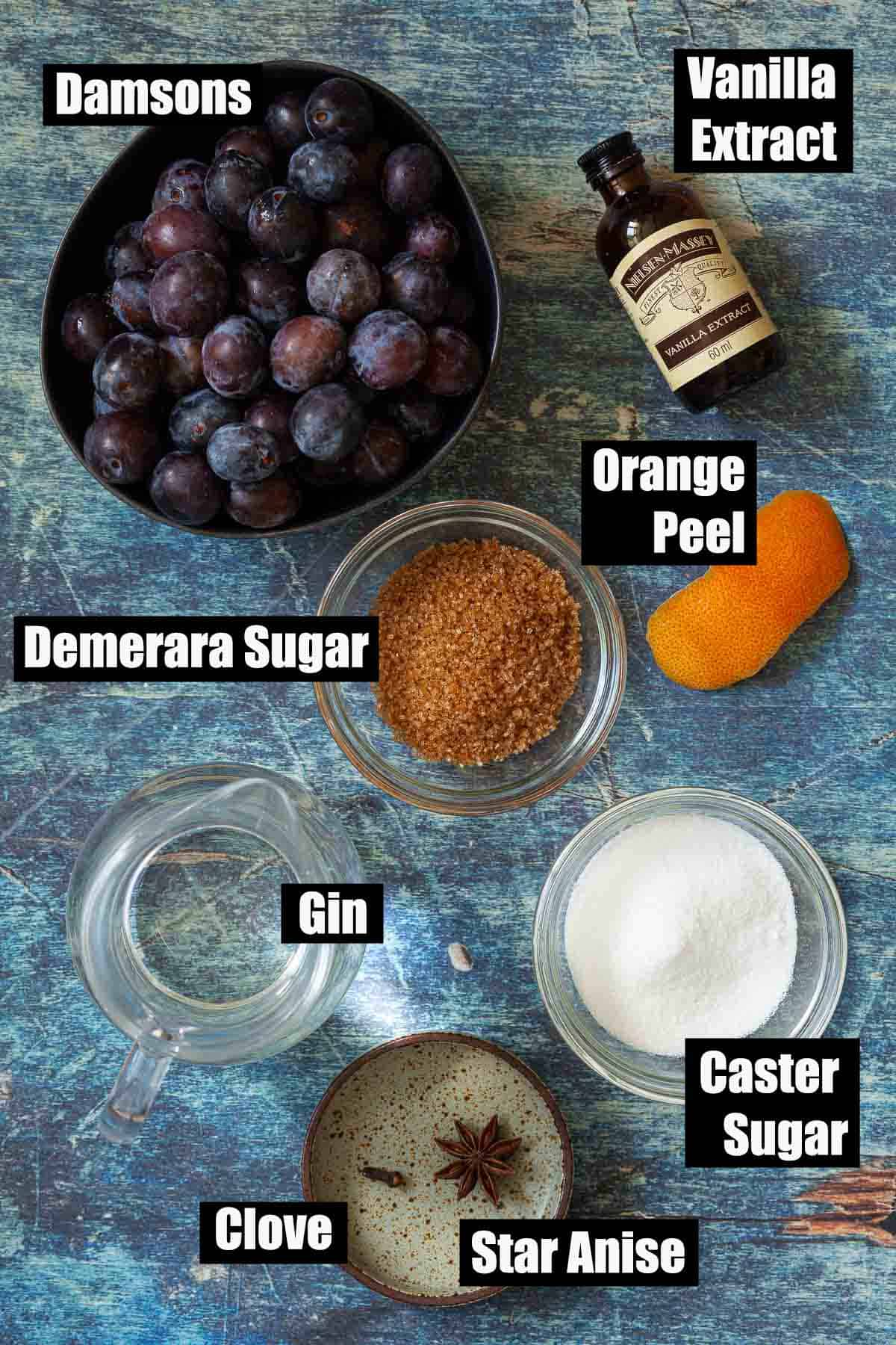 Ingredients with text overlay for a homemade fruit liqueur