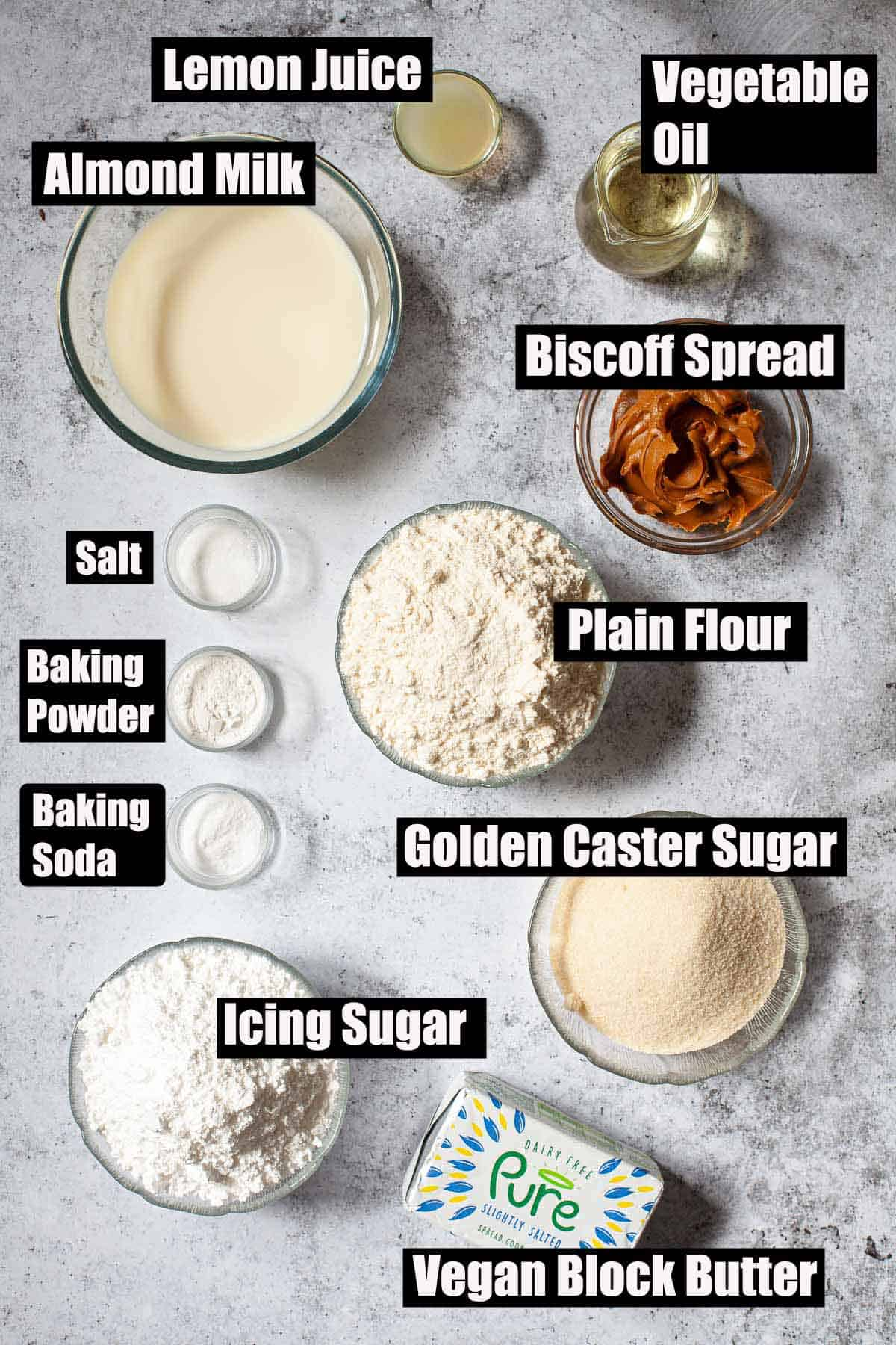 Ingredients for a cookie butter cake with text overlay