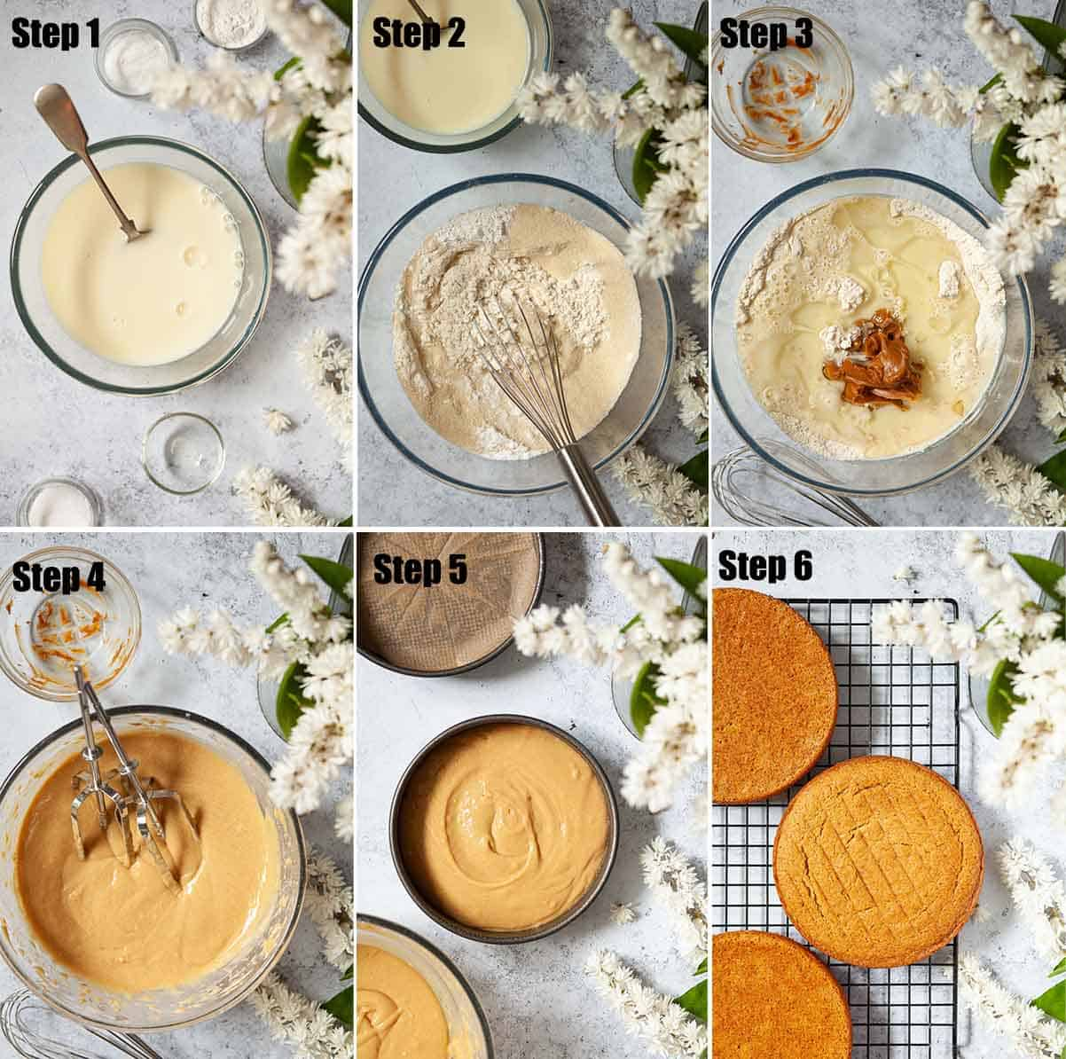 Collage of images showing cookie butter sponge cake being made