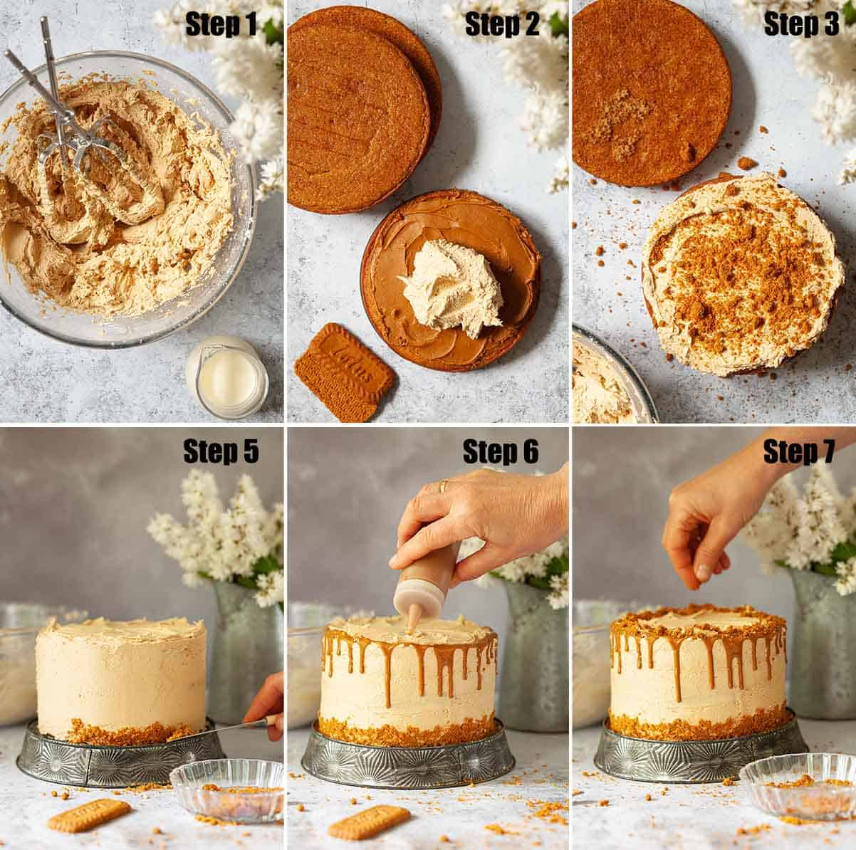 Collage of images showing a Biscoff layer cake being decorated