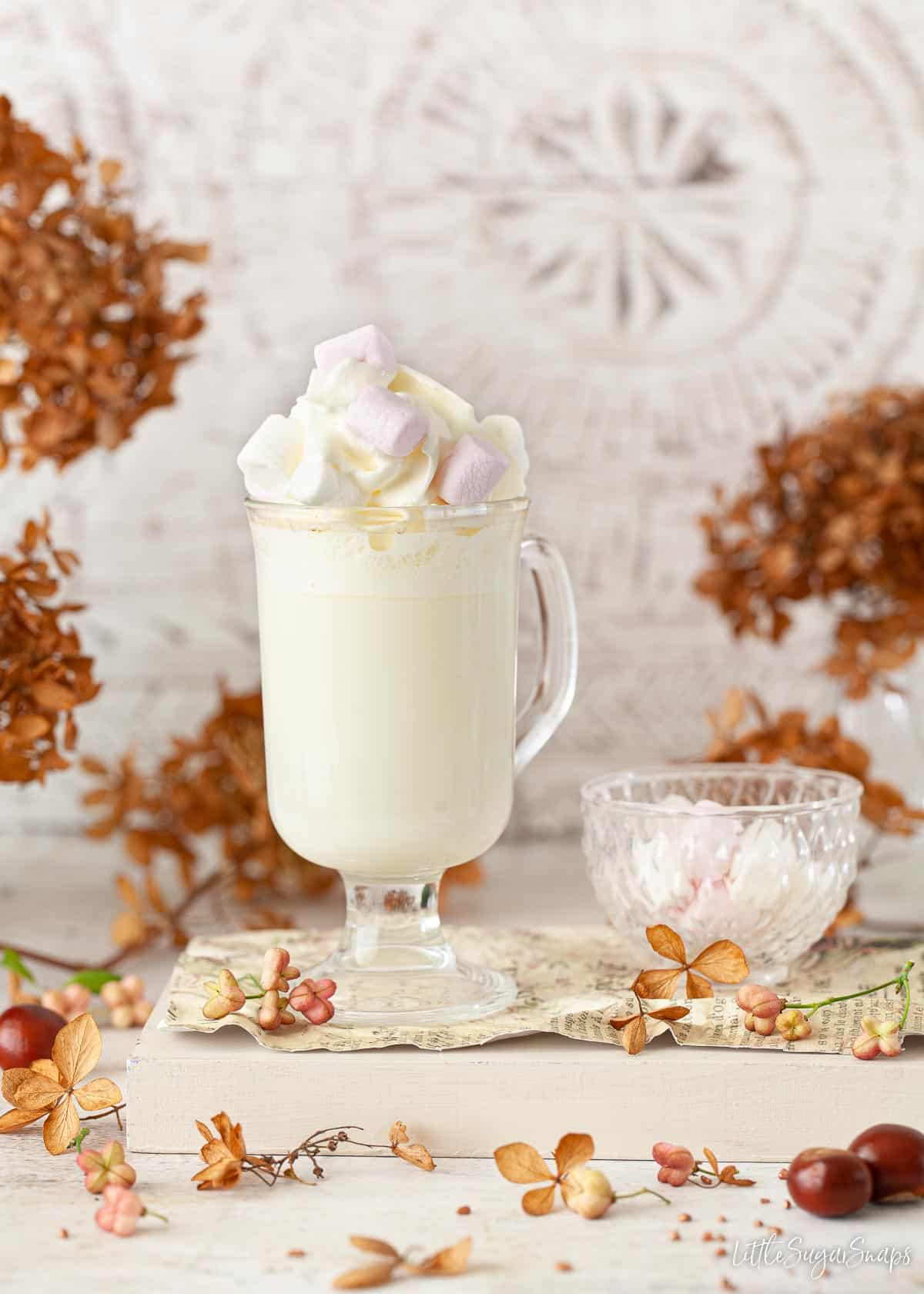 A stemmed glass holding a hot milky drink topped with cream and marshmallows