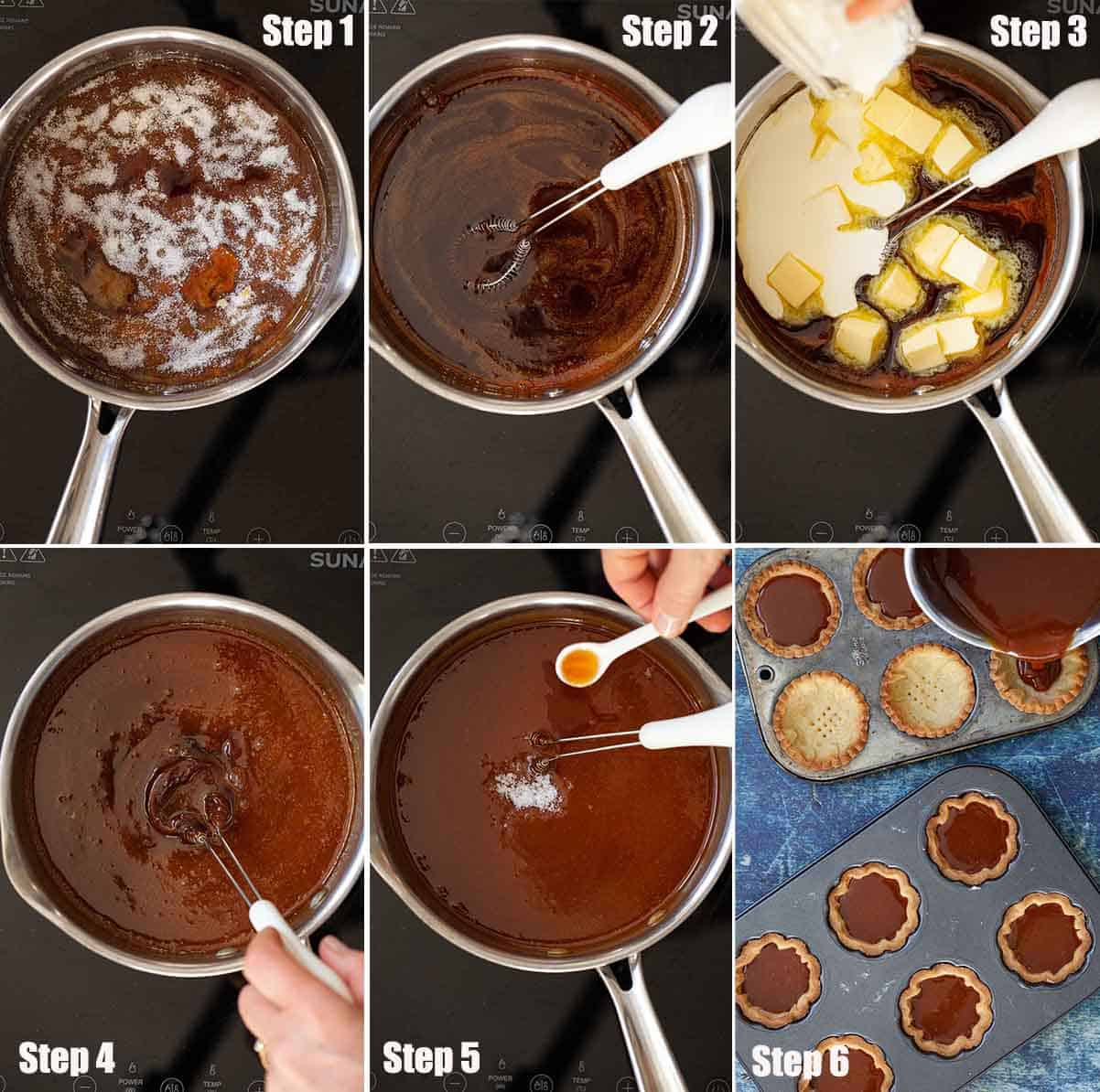 Collage of images showing caramel being made and used to fill pastry cases.