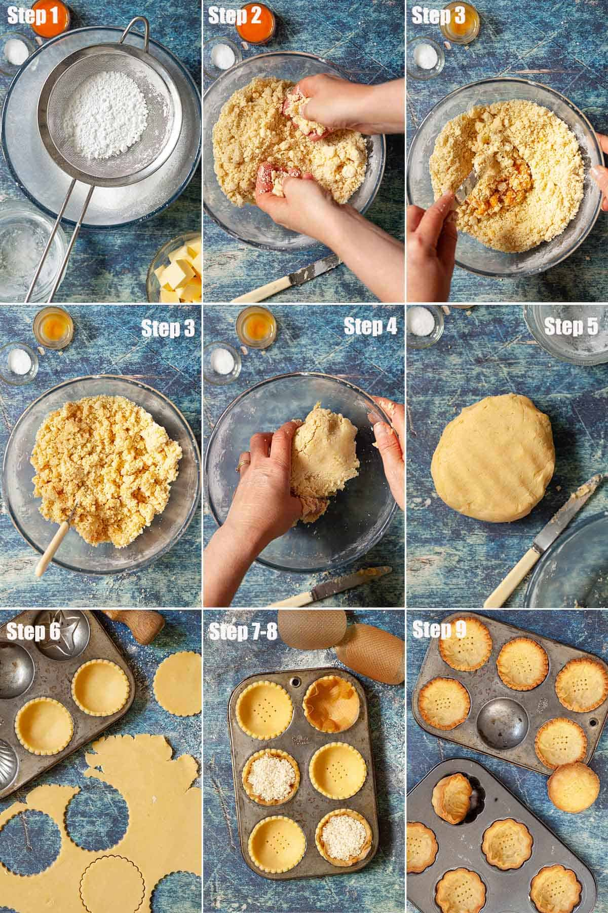 Collage of images showing pastry being made and used to make tart cases.