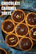 A plate of chocolate caramel tarts with text overlay.