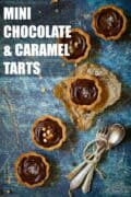 Various individual sized chocolate caramel tarts with text overlay.