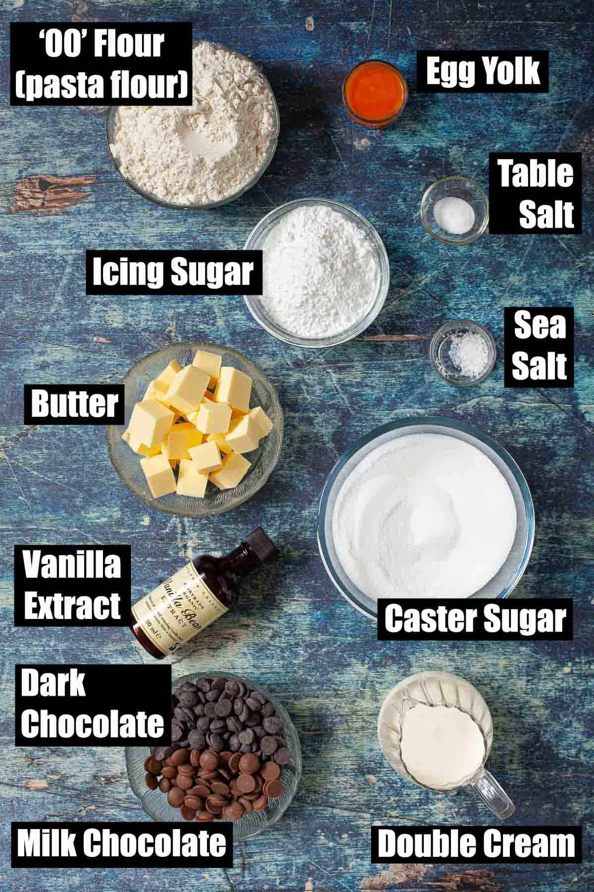 Ingredients in bowls with text overlay for dessert recipe.