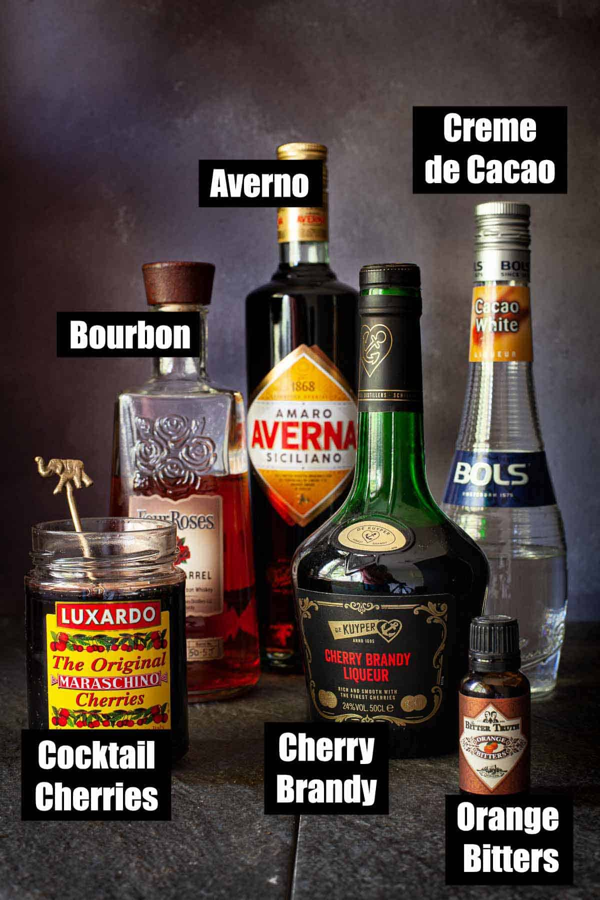 Ingredients with text overlay for an amaro Averna cocktail
