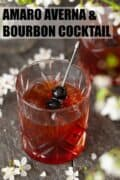 A cocktail made with bourbon whisky and amaro bitter garnished with cherries. With text overlay.