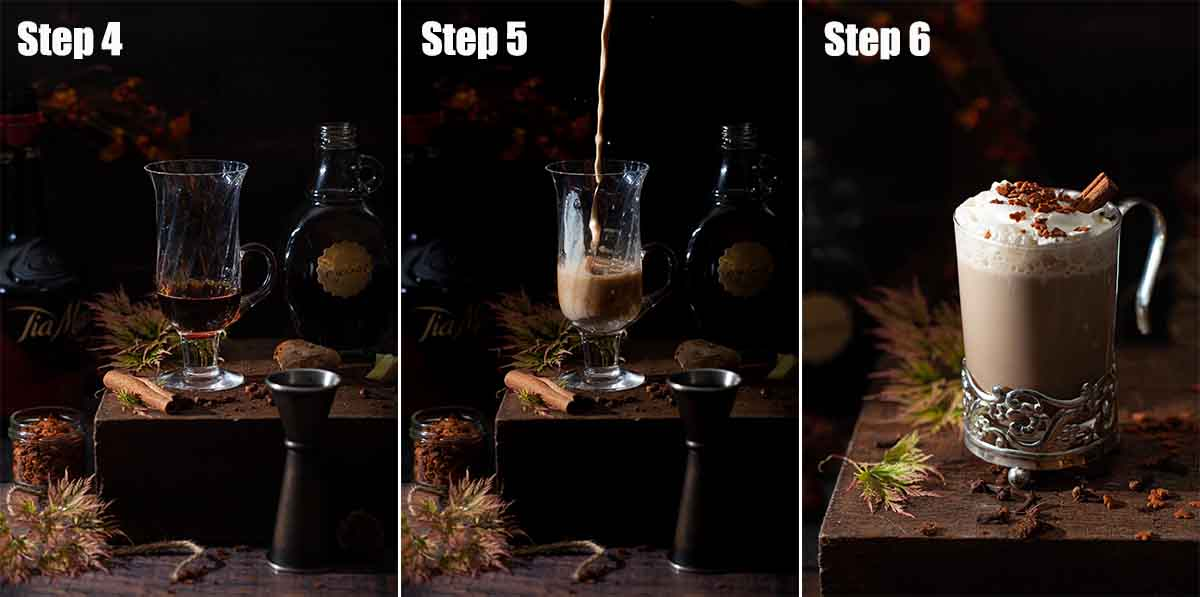 A collage of images showing a gingerbread latte being made.