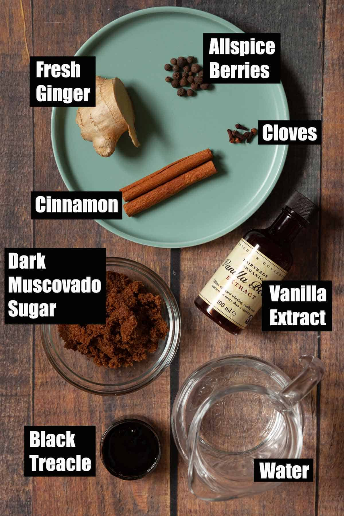 Ingredients for a festive flavoured simple syrup with text overlay.