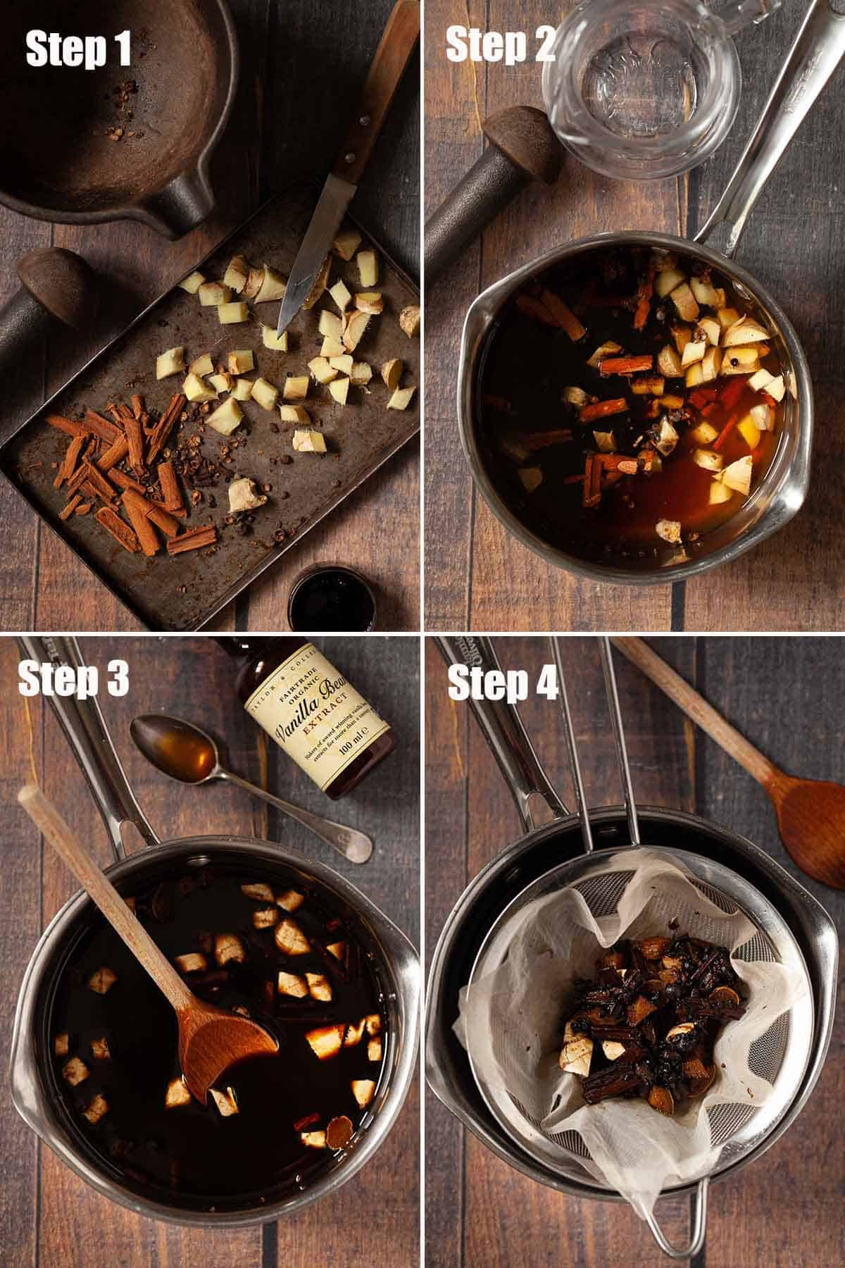 Collage of images showing a gingerbread simple syrup being made.