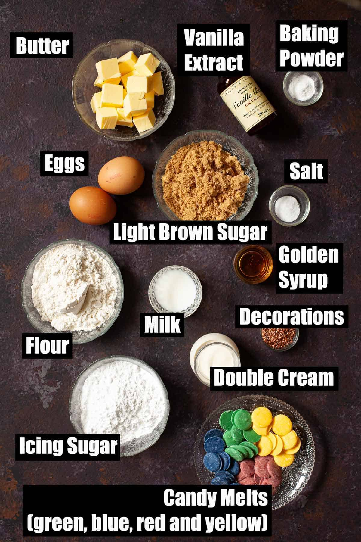 Ingredients with text overlay for hogwarts house harry potter cupcakes